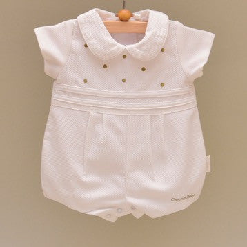 White and Gray Pique Cotton Lined Baby Shortall with Multiple Embroidered Dots