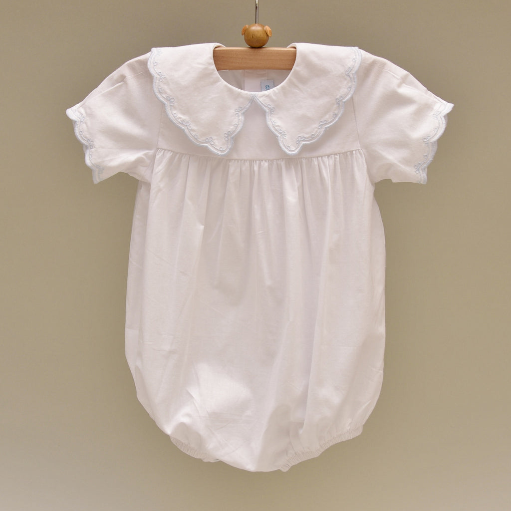 100% Cotton White Baby Romper with Blue Embroidered Collar and Sleeve