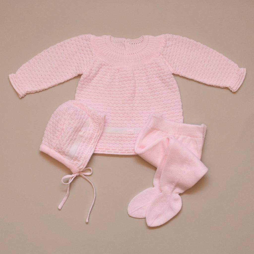 Pink and White Three Piece Girl Knit Sweater Set