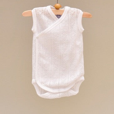100% Perle Cotton Baby White Sleeveless Knit Side Snap Onesie