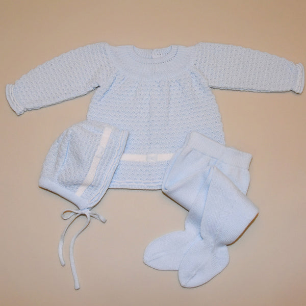 Blue and White Three Piece Knit Sweater Set