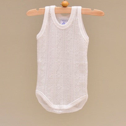 100% Perle Cotton Baby White Sleeveless Onesie