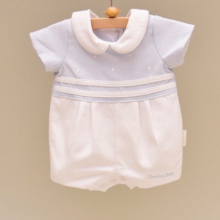 Blue and White Pique Cotton Lined Shortall with Embroidered White Dots