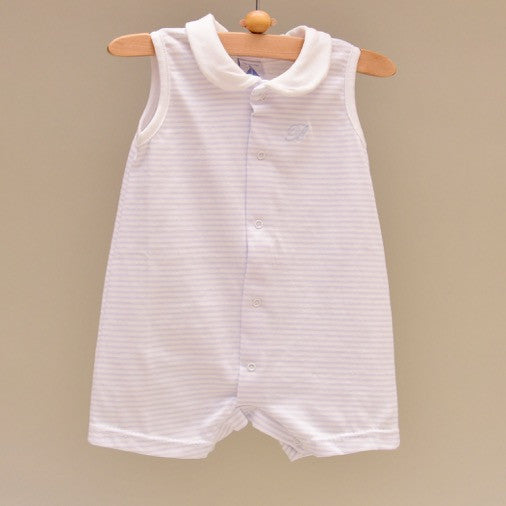 100% Cotton Blue and White Stripe Baby Sleeveless White Collar Romper