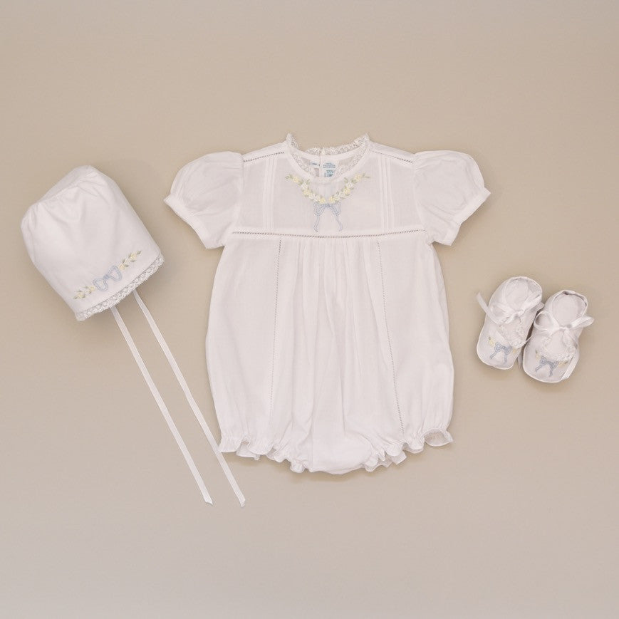 Baby White Bubble, Bonnet and Bootie set with Blue Leaf Bow Embroidery