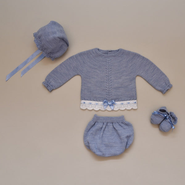Newborn Bluish Gray and White Four Piece Knit Sweater Set