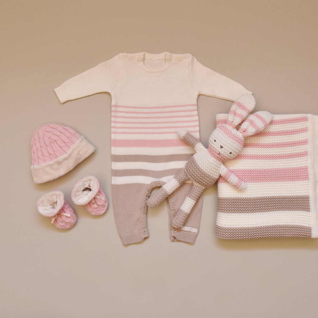 100% Cotton Pink, Cream, and Mink Knitted Striped All in One Suit, Blanket, Bunny and Pink Knitted Hat and Booties Set