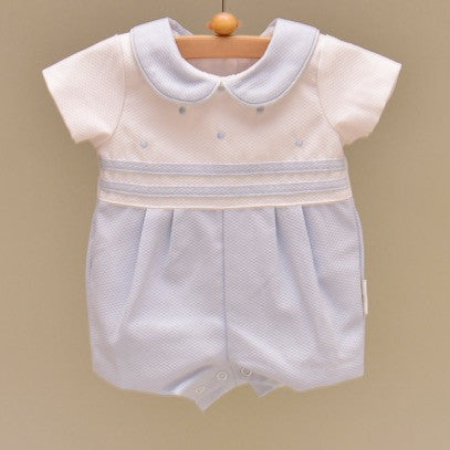 White and Blue Baby Pique Cotton Lined Shortall with Embroidered Blue Dots