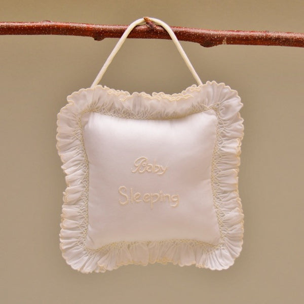 Ecru and White Baby Note Pillow with Ruffle Edge and Ecru Embroidered Message