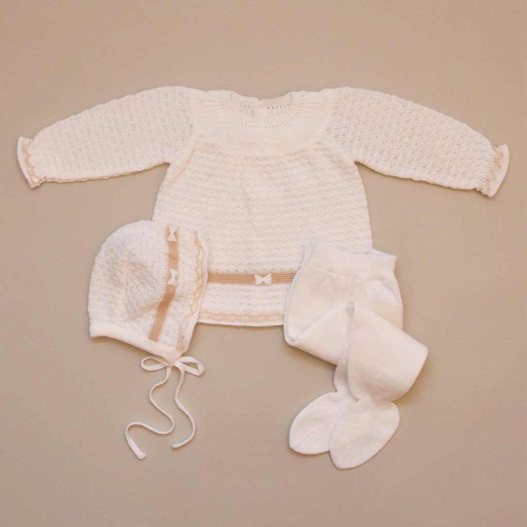 Natural and Beige Three Piece Knit Sweater Set