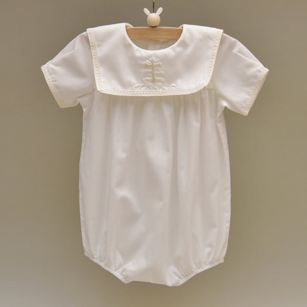 100% Cotton Offwhite Romper with Hand Embroidered Holy Cross