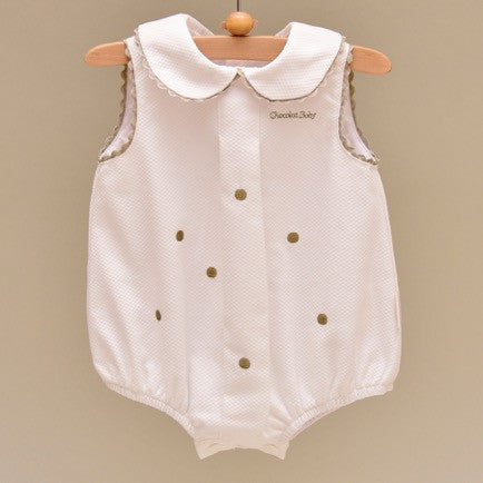 Gray and White Pique Cotton Lined Bodysuit with Embroidered Gray Dots