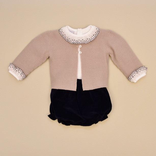 100% Cotton Baby Three Piece Embroidered Top, Knit Cardigan Sweater and Velvet Shorts Set