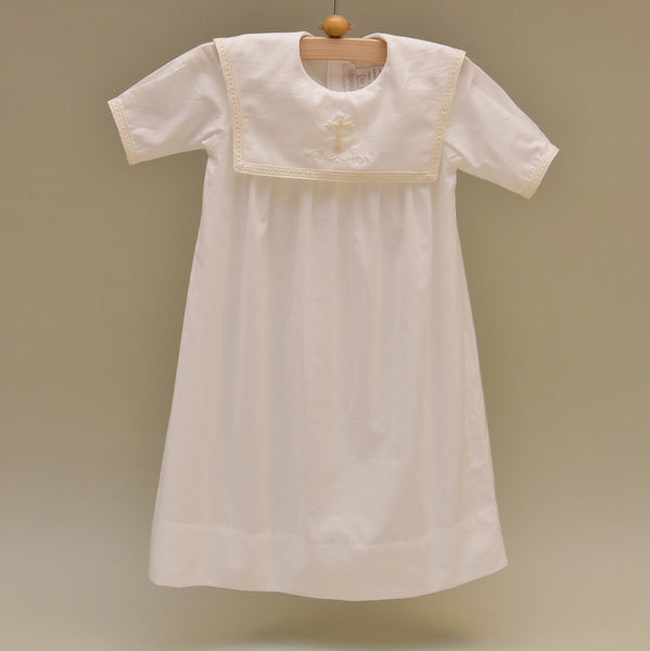100% Cotton Off-white Baby Dress with Hand Embroidered Holy Cross