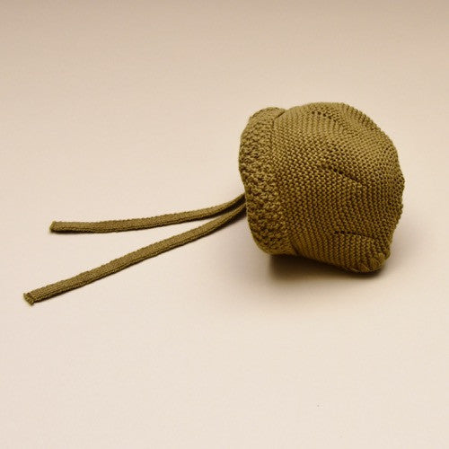 Olive Gray baby knit bonnet