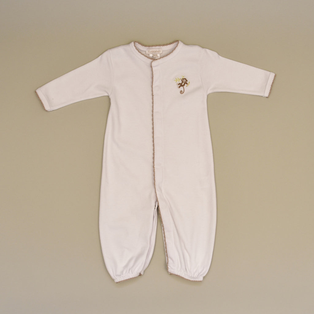 Monkey 100% Cotton White Baby Gown Converter with Hand Embroidered ...