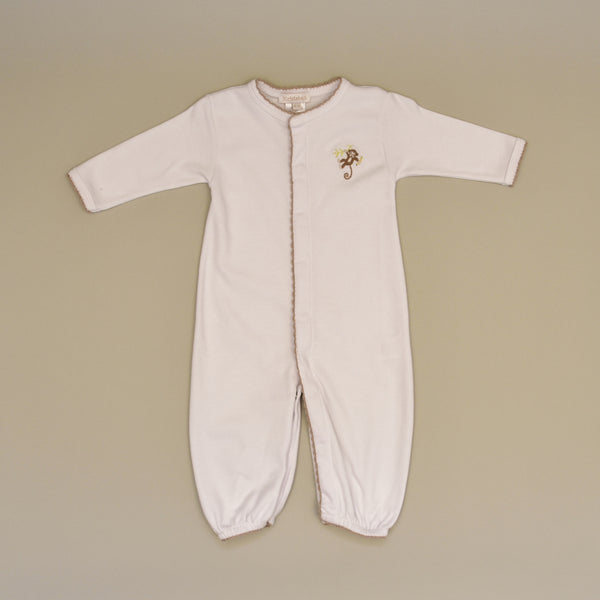 Monkey 100% Cotton White Baby Gown Converter with Hand Embroidered Monkey and Hand Crochet Trim