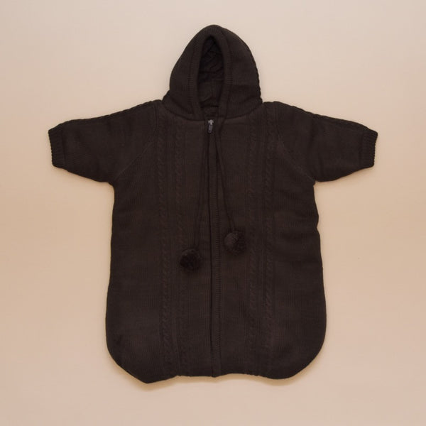 Newborn Chocolate Gray Baby Hooded Knit Cable Sweater Long Sleeve Coverall