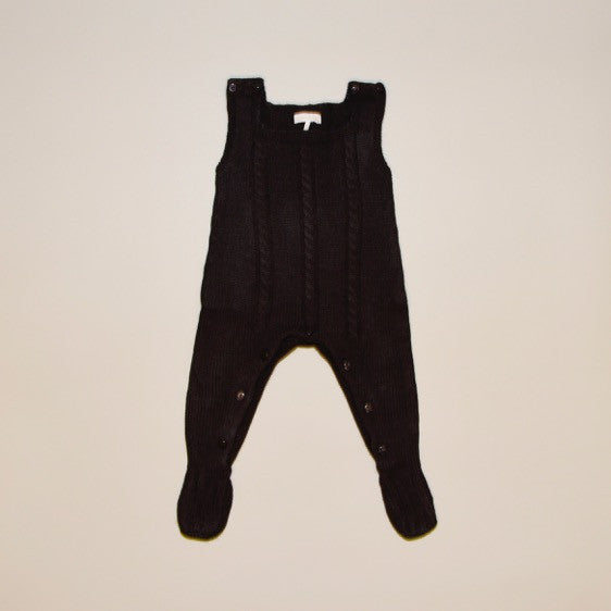 Chocolate Gray Cable Knit Sleeveless Sweater Footy Romper