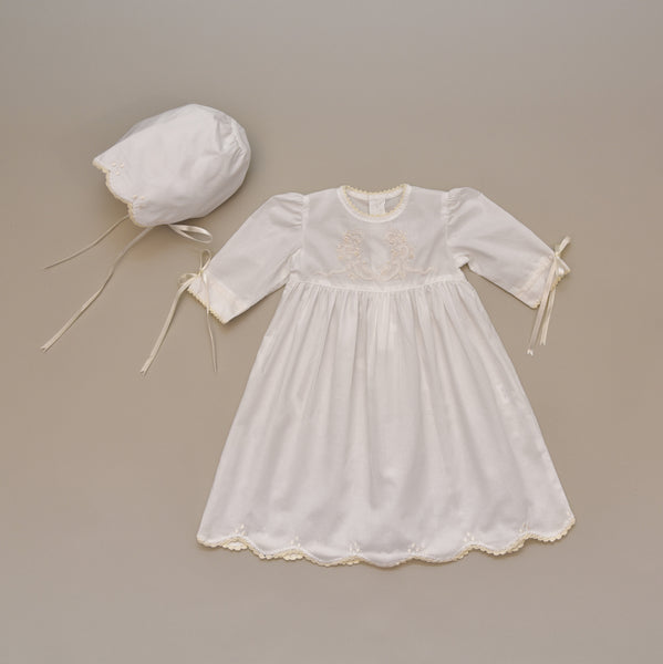 100% Cotton White Baby Dress Gown and Bonnet Set with Ecru Hand Embroidered Details