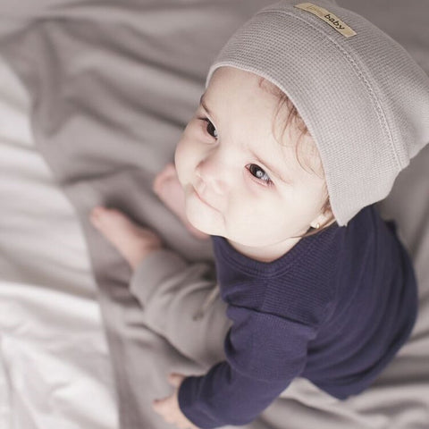 100% Organic Cotton Thermal Long Sleeve Shirt, Pants and Knotted Cap Set