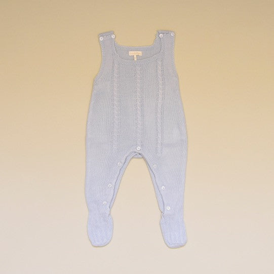 Blue Baby Cable Knit Sleeveless Sweater Footy Romper