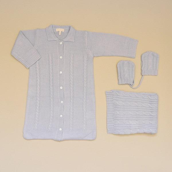 Blue Baby Cable Knit Sweater Coverall Gown, Scarf and Mitten Set