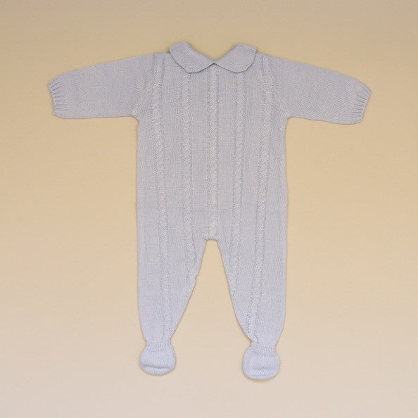 Blue Baby Cable Knit Long Sleeve Sweater Footy Romper