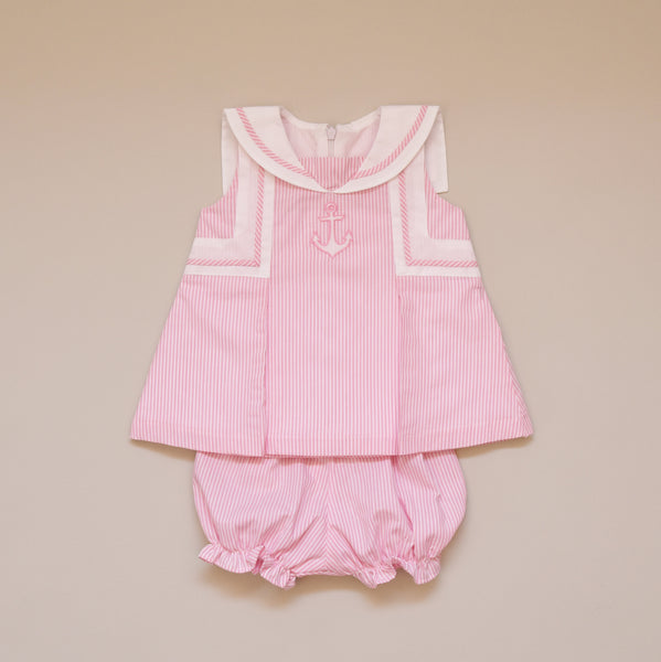 100% Cotton Pink and White Anchor Two Piece Play Dress