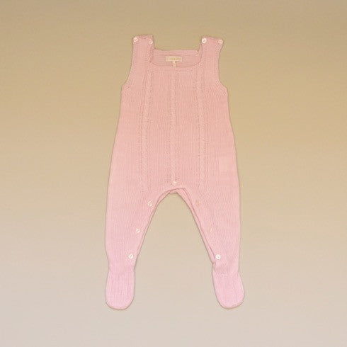 Pink Baby Cable Knit Sleeveless Sweater Footy Romper