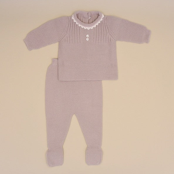 Gray Baby Two Piece Long Sleeve Knit Sweater Set with White Lace Collar and Footy Pant