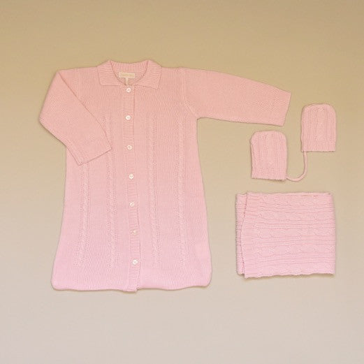 Pink Baby Cable Knit Sweater Coverall Gown, Scarf and Mitten Set