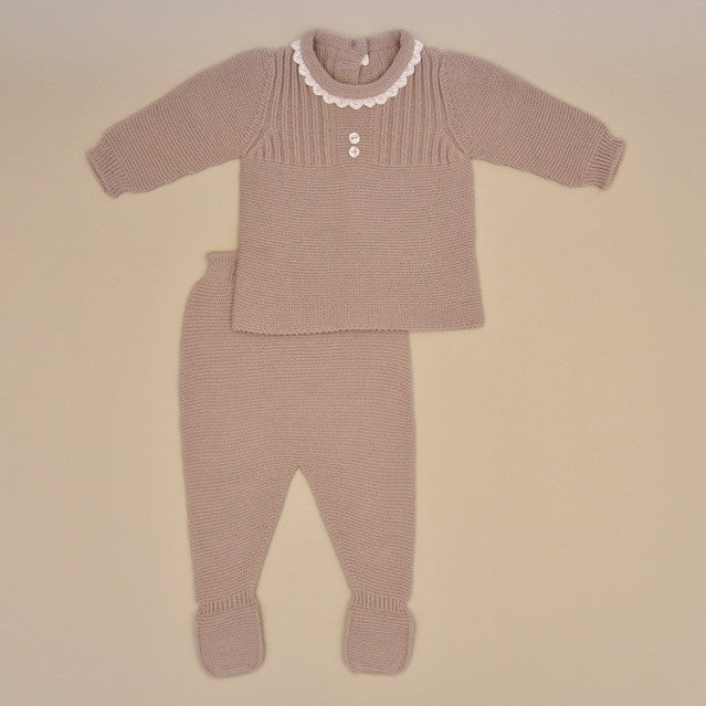Taupe Baby Two Piece Long Sleeve Knit Sweater Set with White Lace Collar and Footy Pant