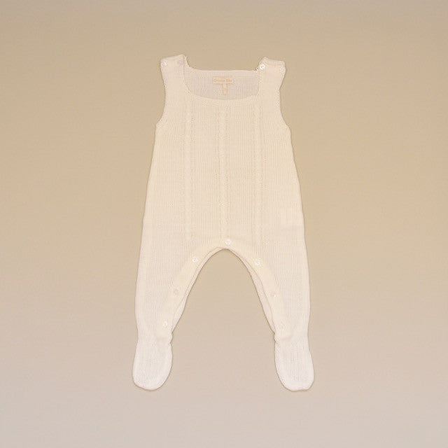 Ivory Baby Cable Knit Sleeveless Sweater Footy Romper