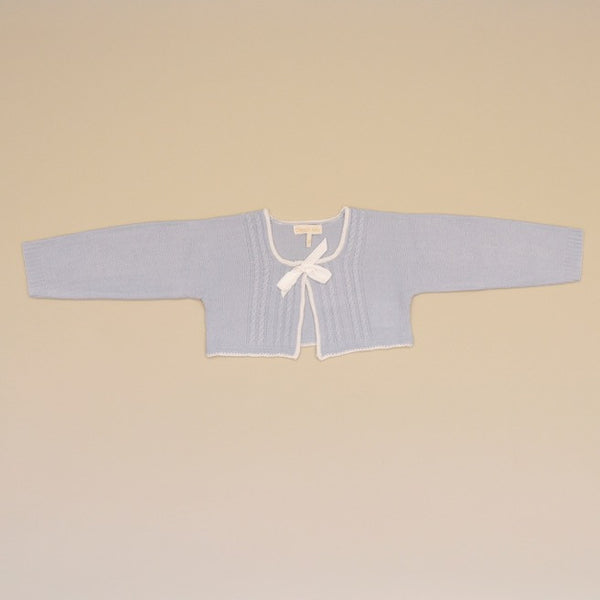 Baby Blue and White Bolero Cable Knit Cardigan Sweater