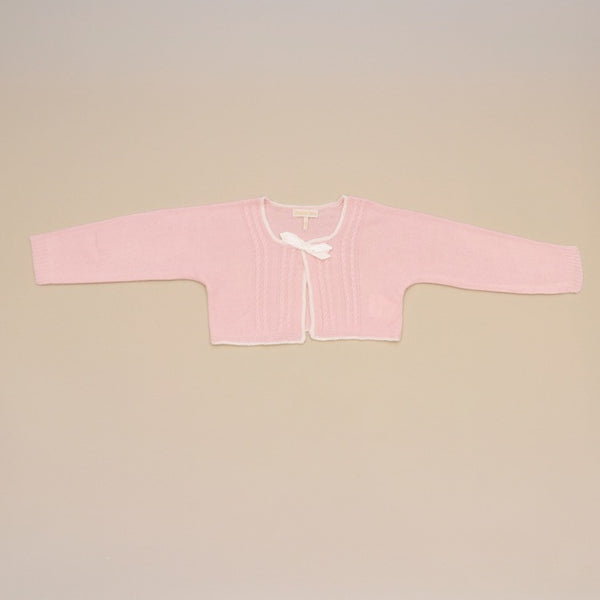 Pink Baby Bolero Cable Knit Cardigan Sweater