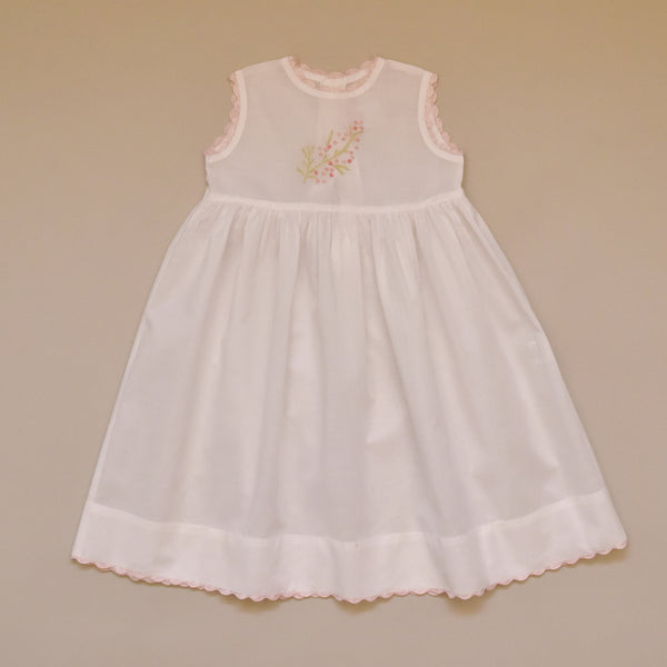 100% Cotton Baby White Dress with Pink Hand Crochet Edge Detail and Hand Embroidered Flowers