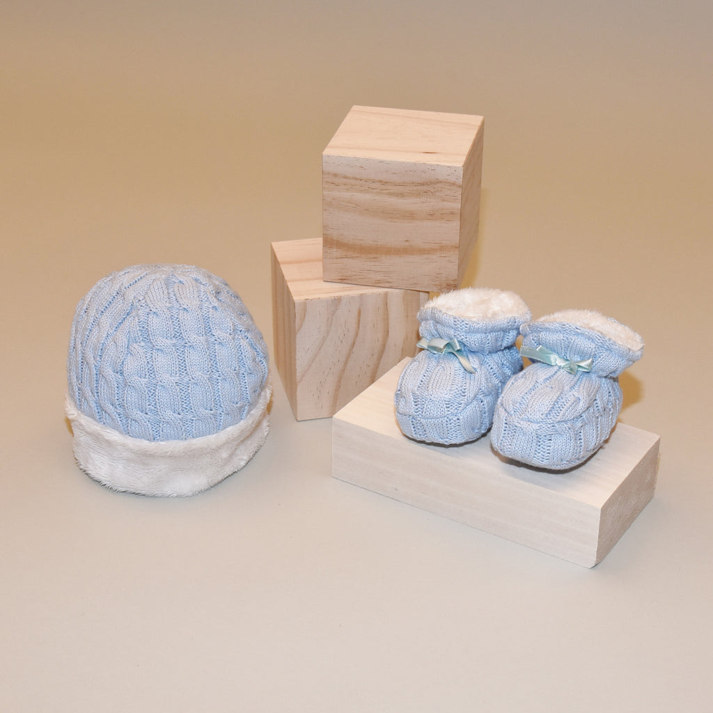 Blue Cable Knit Hat and Bootie Gift Set