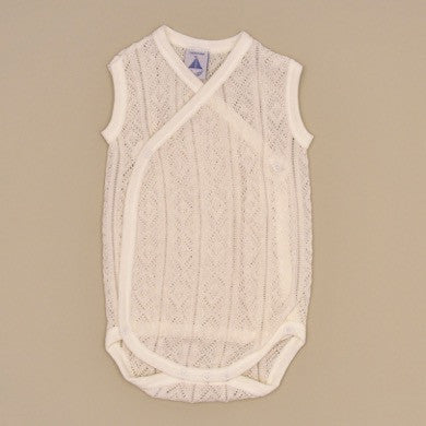 100% Perle Cotton Baby Beige Sleeveless Knit Side Snap Onesie