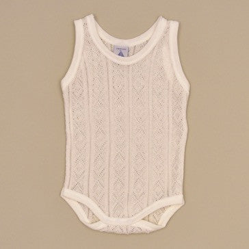 100% Perle Cotton Baby Beige Sleeveless Onesie