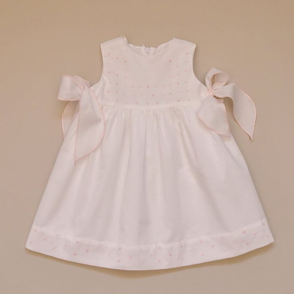 100% Cotton Baby White Dress with Hand Embroidered Pink Dots and Side Bow Accents
