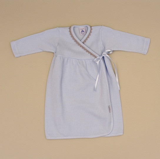 100% Cotton Blue Baby Gown with Gray Crochet Edge and Side Ribbon Ties