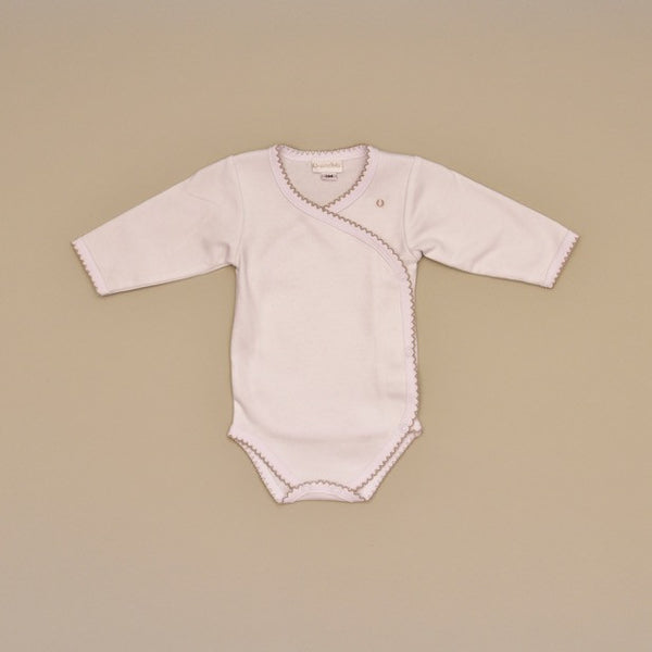 White and Beige 100% Cotton Baby Bodysuit with side snap, crochet edge and embroidered dots