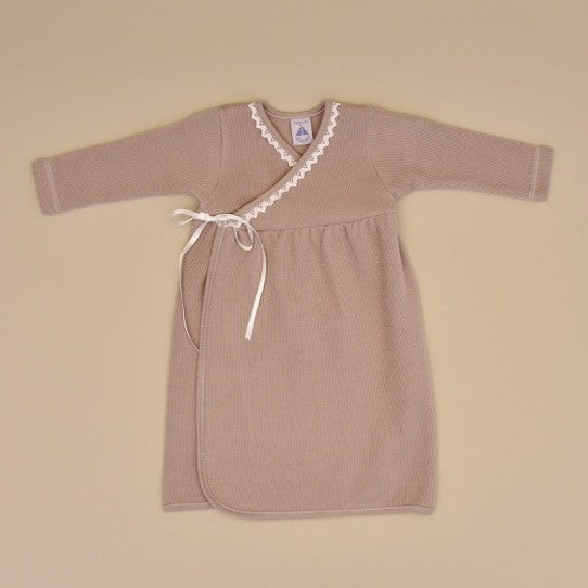 100% Cotton Taupe Cotton Baby Gown with White Crochet Edge and Side Ribbon Ties