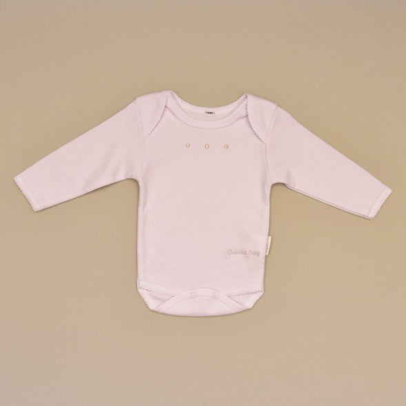 White and Beige 100% Cotton Baby Bodysuit/Onesie with Crochet Edge and Embroidered Dots