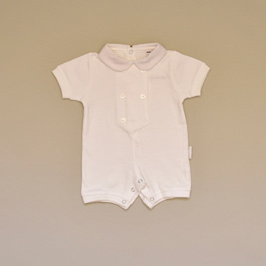 100% Cotton Ivory Baby Romper with White Pique Collar