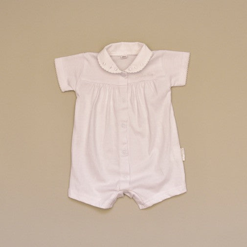 100% Cotton White Baby Short Sleeve Romper with White Pique Collar with Embroidered White Dots