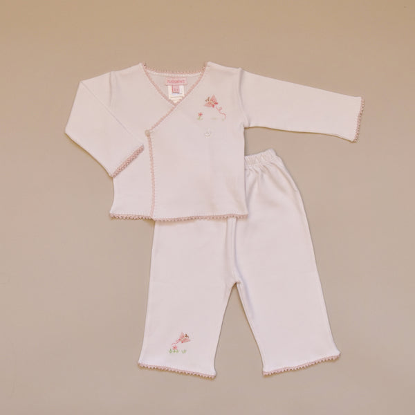 Pink Butterfly 100% Cotton White Baby Tee and Pant Set with Pink Hand Crochet Trim and Hand Embroidered