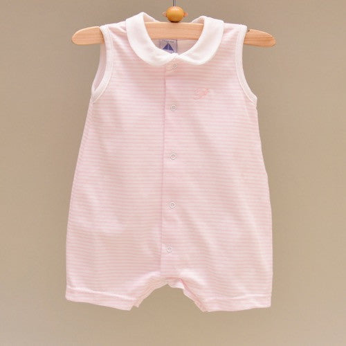Pink and White 100% Cotton Baby Sleeveless Romper with White Collar