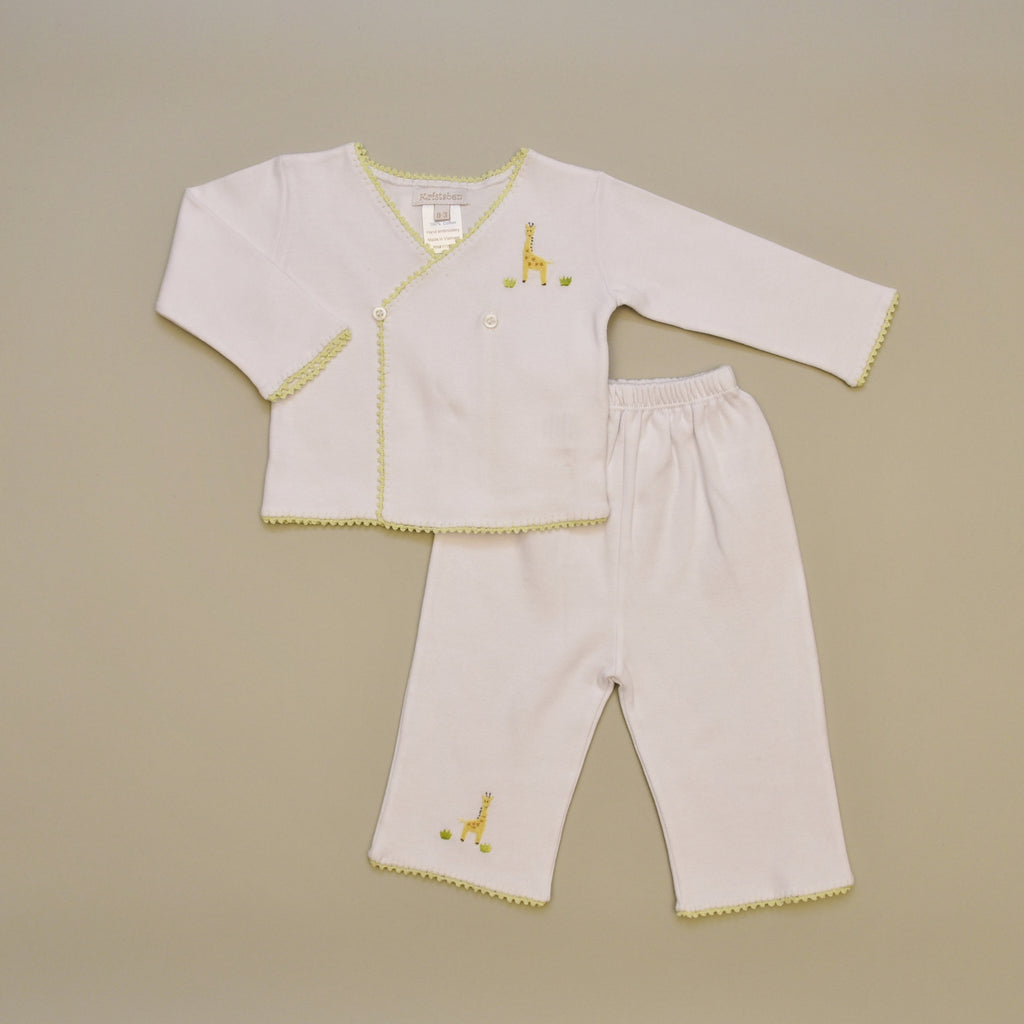Giraffe 100% Cotton Baby Tee and Pant Set with Hand Crochet Trim and Hand Embroidered Giraffe